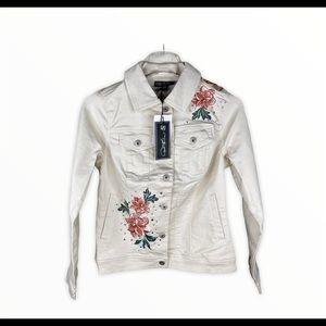 Diane Gilman Floral Embroidered Denim Jacket NWT